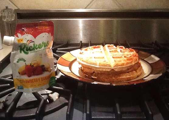 Strawberry Banana Protein Waffles